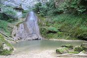 Herman achter de waterval bij cache Le Templiers