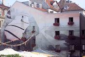 Muurschildering aan de Doma Laukums