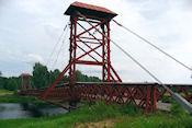 Houten hangbrug bij Limedsforsen