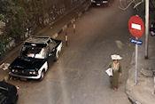 Taxi gezien vanuit hotel