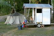 Mobiele sauna en Finse tentsauna op camping
