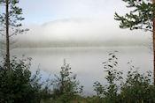Optrekkende mist gezien vanaf de tent